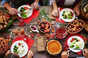 A holiday table filled with food