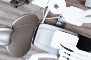 Modern dental chair at dentist in Houston.