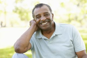man happy with dental implants in Houston