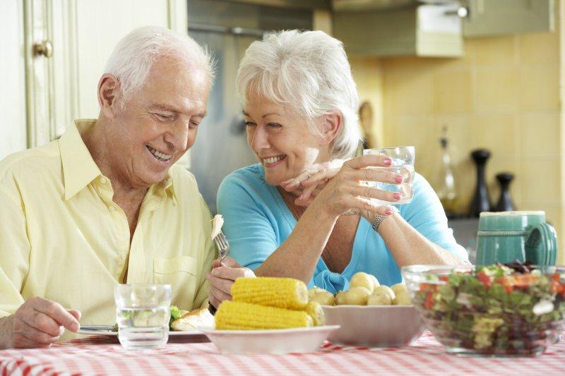 older couple eating summer foods