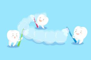 illustration teeth brush clear braces
